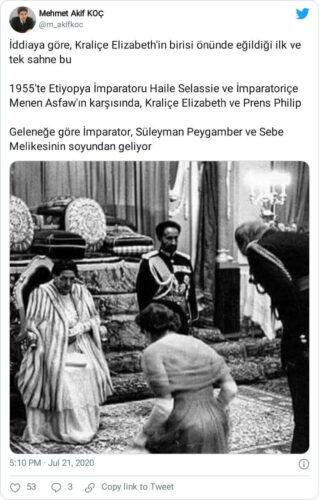 kraliçe 2. elizabeth ve haile selassie'ye ait sanılan fotoğrafları içeren paylaşım