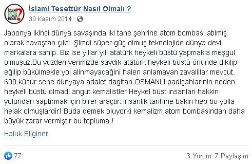 Haluk Bilginer'e ait olduğu sanılan Atatürk, Kemalizm ve Osmanlı hakkındaki sözleri içeren paylaşım