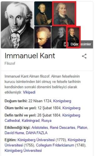 immanuel kant google arama sonucu