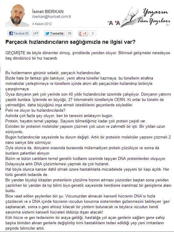 """İsmet Berkan'ınHürriyet Gazetesi'nde yayınlanan """"Parçacık Hızlandırıcıların Sağlığımızla Ne İlgisi Var?"""" Başlıklı Köşe Yazısı"""