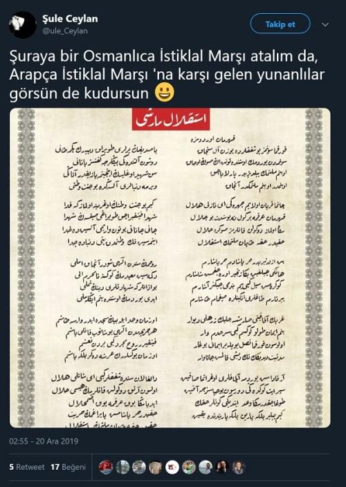 İstiklal Marşı'nın aslının Arapça olduğunu sanan paylaşım