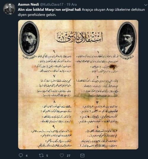 İstiklal Marşı'nın aslında Arapça yazıldığını sanan paylaşım