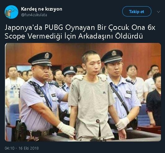 Japonya'da PUBG Oynayan Bir Gencin Arkadaşını Öldürdüğünü İddia Eden Tweet