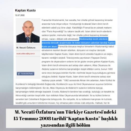 """M. Necati Özfatura'nın Türkiye Gazetesindeki """"Kaptan Kusto"""" başlıklı 15 Temmuz 2008 tarihli yazısı"""