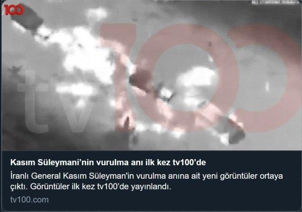 Kasım Süleymani'ye yapılan saldırı anından sanılan videoyu paylaşan haber kanalı