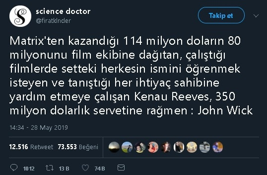 Keanu Reeves'ınMatrix serisi filmlerinden elde ettiği 114 milyon doların 80 milyon dolarını film ekibine dağıttığı iddiası