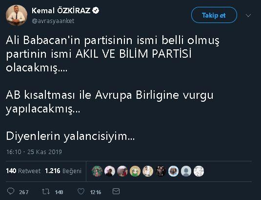 Kemal Özkiraz'ın Ali Babacan'ın yeni partisinin isminin Akıl ve Bilim Partisi olacağını öne sürdüğü ilk tweet