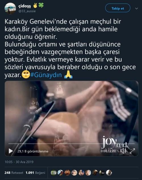 Kıyamam Sana şarkısının sözlerinin Karaköy Genelevinde çalışan meçhul bir kadın tarafından yazıldığı iddiasını içeren tweet