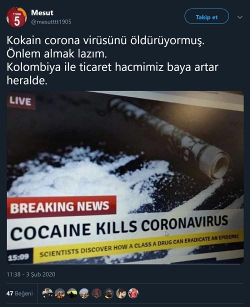 Kokainin koronavirüsü öldürdüğü iddiasını içeren paylaşım