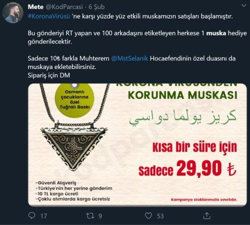 KodParcasi mahlaslı Twitter kullanıcısının koronavirüs muskası görselini paylaştığı ilk tweeti