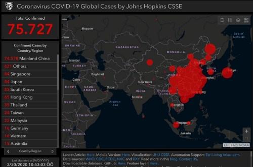 20 Şubat 2020 tarihi itibarıyla koronavirüs salgınının yayılım haritası