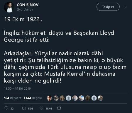 """Lloyd George'un Mustafa Kemal Atatürk Hakkında """"İnsanlık Tarihi Birkaç Yüzyılda Bir Dahi Yetiştirebiliyor. Şu Talihsizliğimize Bakınız Ki Küçük Asya'da Çıktı. Hem De Bize Karşı.. Elden Ne Gelebilirdi?"""" Dediği İddiasını İçeren Tweet"""