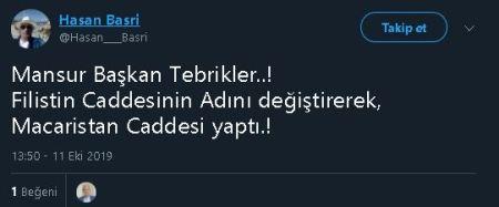 Mansur Yavaş'ın Ankara'daki Filistin Caddesi'nin ismini Macaristan Caddesi olarak değiştirdiğini öne süren ilk tweet