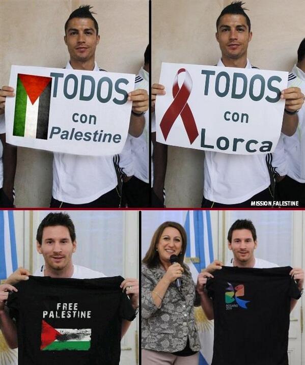 Christiano Ronaldo'nun ve Lionel Messi'nin Filistin'e destek mesajı içeren pankartla yer aldığı iddia edilen fotoğraflar ve asılları