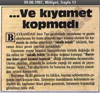 """Milliyet Gazetesinin 9 Ağustos 1987 tarihli """"Ve Kıyamet Kopmadı"""" başlıklı küpürü"""