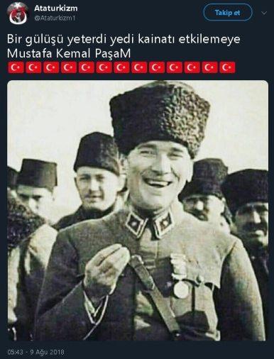"""Sosyal medyada """"Bir gülüşü yeterdi yedi kainatı etkilemeye Mustafa Kemal Paşam"""" notuyla paylaşılan Atatürk fotoğraflı tweet"""