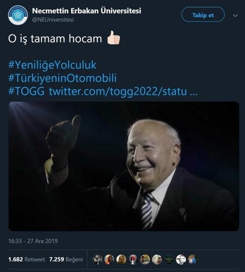 """Necmettin Erbakan Üniversitesi'nin Devrim Arabalarını Erbakan'ın ürettiğini ima ettiği """"O iş tamam hocam"""" mesajlı tweeti"""