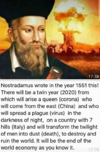 Nostradamus'un kehanet iddiasının İngilizce versiyonu
