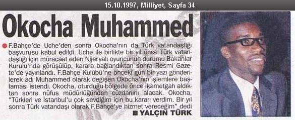 Okocha'nın Türkiye Cumhuriyeti vatandaşlığına geçip Muhammed ismini aldığına dair Milliyet Gazetesinin haberi