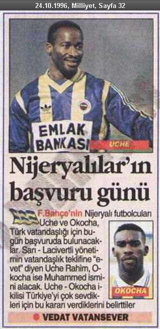 Jay Jay Okocha'nın Türkiye Cumhuriyeti Vatandaşlığı Başvurusuna İlişkin Milliyet Gazetesi Haberi