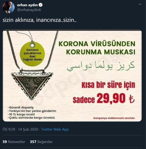 Orhan Aydın'ın hiciv maksadıyla uydurulmuş asılsız korona virüs muskası satış ilanını gerçek sandığı paylaşımı