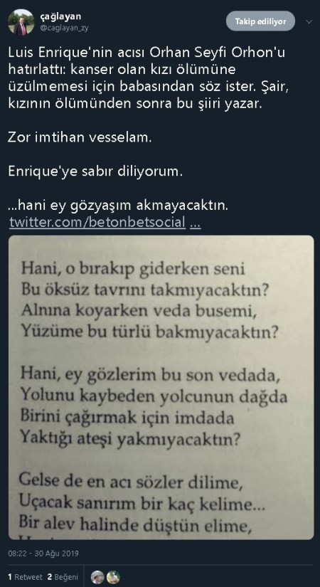 Orhan Seyfi Orhon'un vefa şiirini kanser olan kızının ölümünden sonra yazdığını iddia eden bir sosyal medya paylaşımı