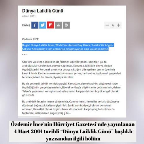 Özdemir İnce'nin 2001 yılında yayınlanan 4 Mart'ın Dünya Laiklik Günü olduğu iddiasını içeren köşe yazısı