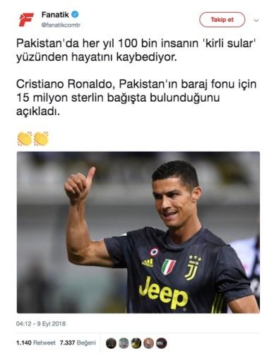 ronaldo pakistan bağış