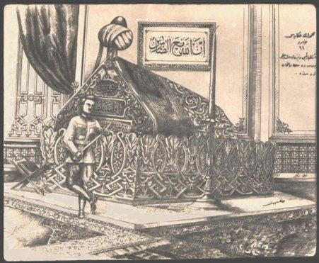 Sofoklis Venizelos'un Osman Gazi'nin kabrinde poz verdiği ana ilişkin bir diğer çizim