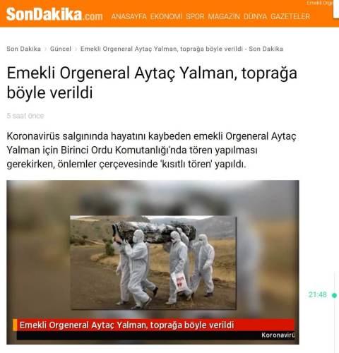 Aytaç Yalman'ın cenazesine ait olduğu iddiasıyla 2014 yılından ilgisiz bir fotoğrafı içeren haber
