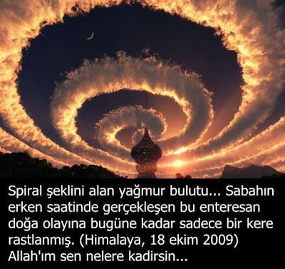 Spiral şeklinde görüntülendiği iddia edilen yağmur bulutu görseli