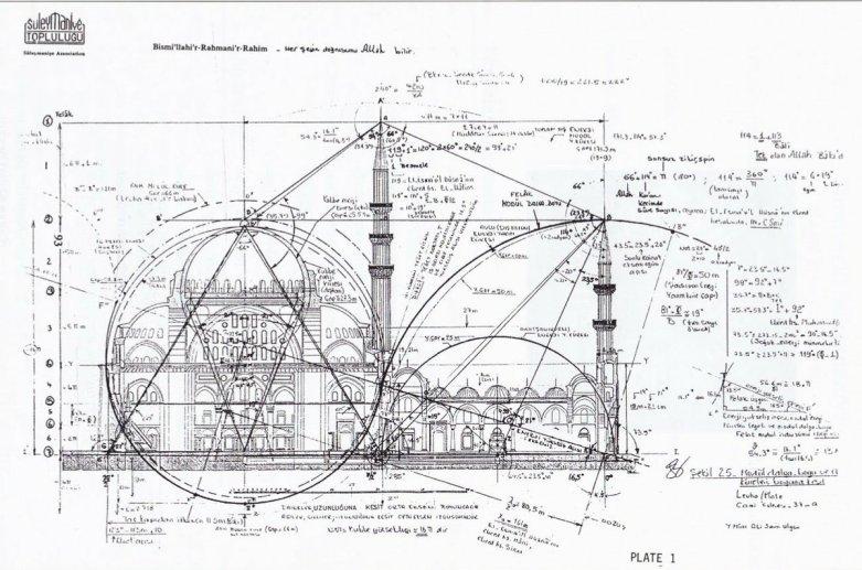 Mimar Sinan'ın Çizimi Olduğu Sanılan Süleymaniye Camii Çizimi