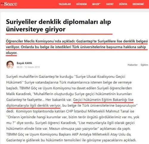 """Sözcü Gazetesinden Başak Kaya'nın hazırladığı 12 Kasım 2019 tarihinde yayınlanan """"Suriyeliler denklik diplomaları alıp üniversiteye giriyor"""" başlıklı haber"""