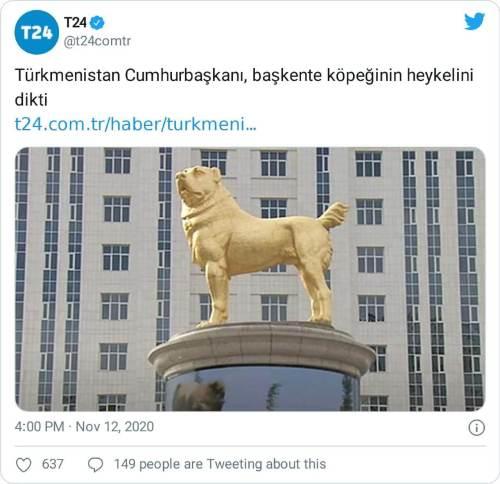 köpeğinin heykelini diktirdi