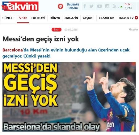 """Takvim Gazetesinin """"Messi'den geçiş izni yok"""" başlıklı haberi"""