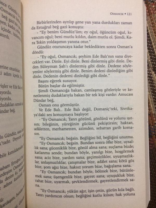 Tarık Buğra'nın Osmancık adlı romanında Şeyh Edebali'nin Osman Gazi'ye nasihatinin yer aldığı sayfa