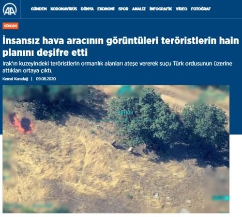 teröristlerin ormanlık alanları ateşe verdiği an