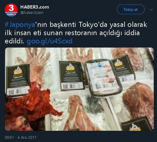 Japonya'nın başkenti Tokyo'da insan eti satan restoran açıldığını iddia eden haber