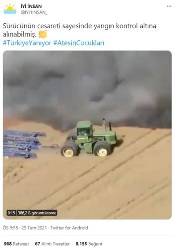 traktör şoförü yangına müdahale