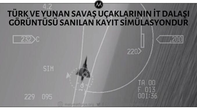 Türk ve Yunan Savaş Uçakları Arasındaki İt Dalaşı Görüntüsü Olduğu İddiasıyla Paylaşılan Video Kaydı Gerçek Hayattan Değil