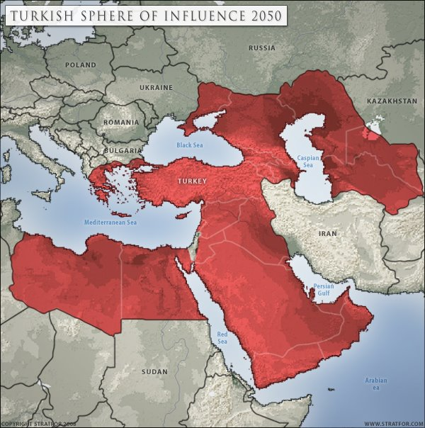 """""""Turkish Sphere of Influence 2050"""" başlıklı Stratfor tarafından hazırlanan harita"""