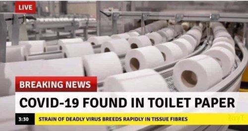 Tuvalet kağıdında koronavirüs bulunduğu iddiasını içeren montaj alt bantlı görsel