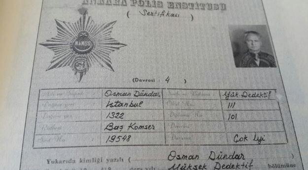 Uğur Dündar'ın babası Osman Dündar'a ait dedektiflik sertifikası