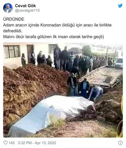 arabasıyla gömülen kişi