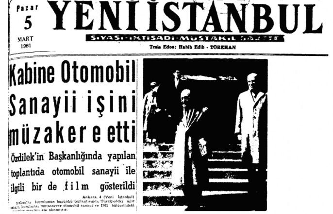 """Yeni İstanbul Gazetesinin """"Kabine Otomobil Sanayii İşini Müzakere Etti"""" manşeyli 5 Mart 1961 tarihli kapağı"""