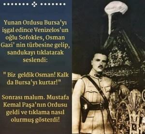 Yunan Komutan Sofoklis Venizelos'un Osman Gazinin kabrini tekmelediğini iddia eden görsel