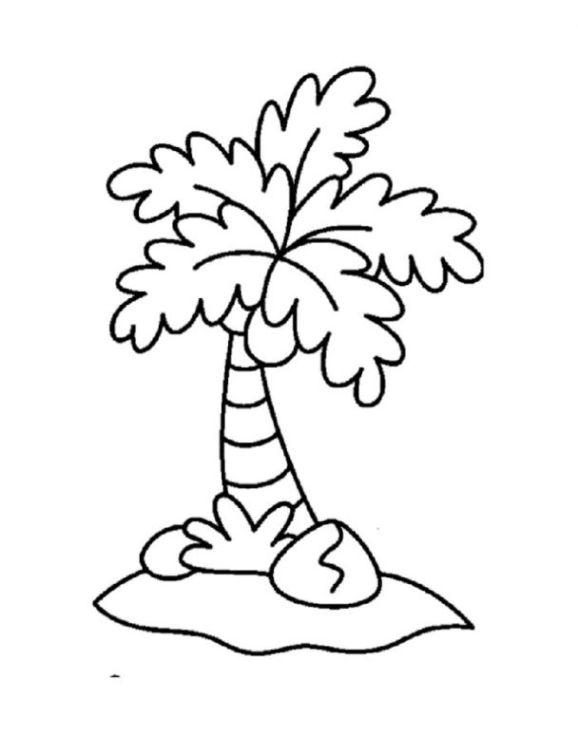 Ausmalbilder zum Drucken Malvorlage Palme kostenlos 3