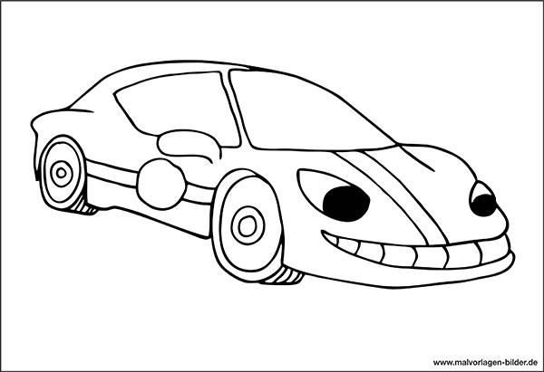 Sportwagen - Malvorlage zum Ausmalen