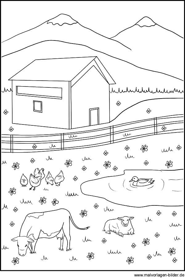 Ausmalbild - Tiere auf dem Bauernhof