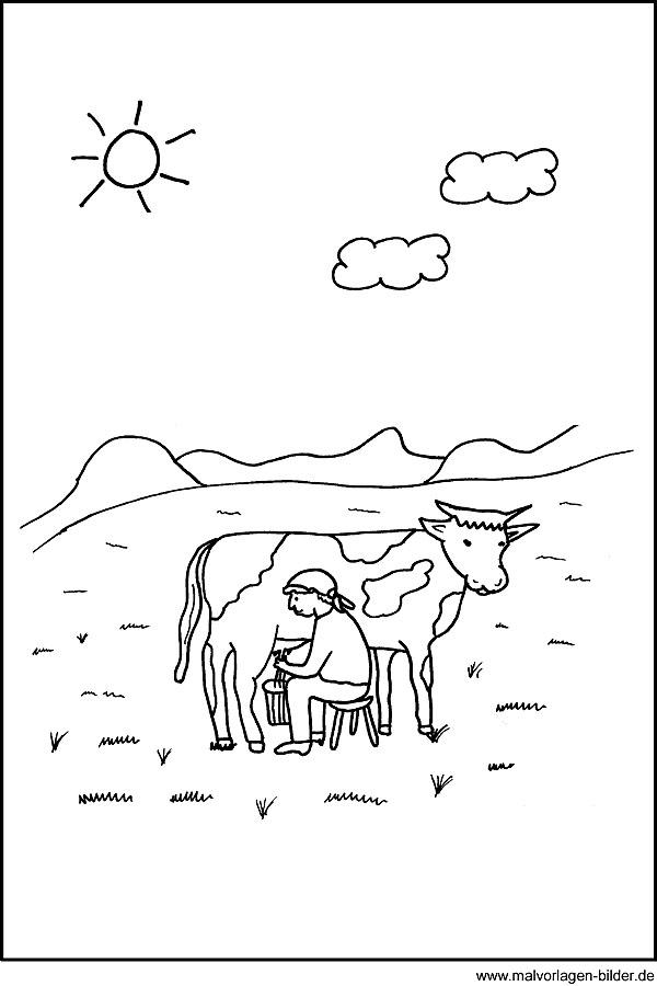 Malvorlage - Kuh beim Melken auf der Weide